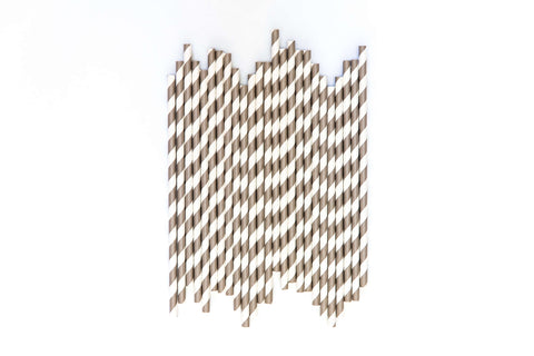 Grey Striped Straws (24 Pack)