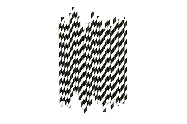 Black & White Striped Straws (24 Pack)