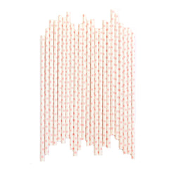 White with Pink Polkadot Straws (24 Pack)