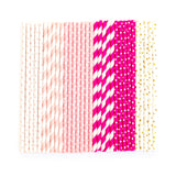 Raspberry Striped Straws (24 Pack)