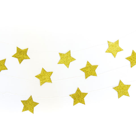 Gold Glitter Star Garlands