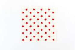 White with Red Star Napkins (20 Pack)