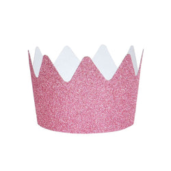 Pink Glitter Crowns (8 Pack)