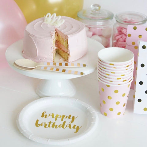 Gold Happy Birthday Cake Plates 12 Pack