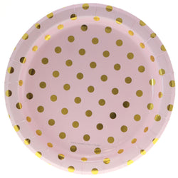 Pink with Gold Polkadot Plates (12 Pack)
