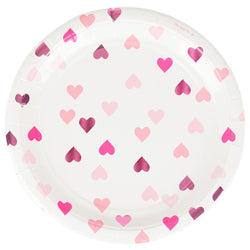 Pink Foil Heart Plates (8 Pack)