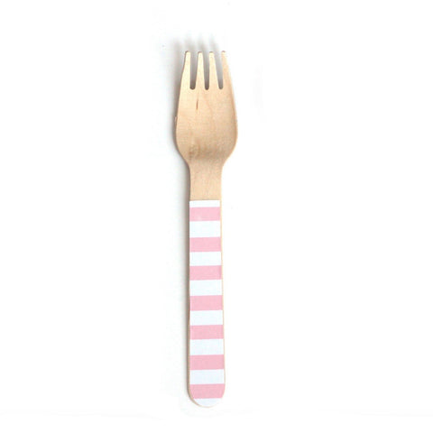Pink Stripe Wooden Forks (24 Pack)