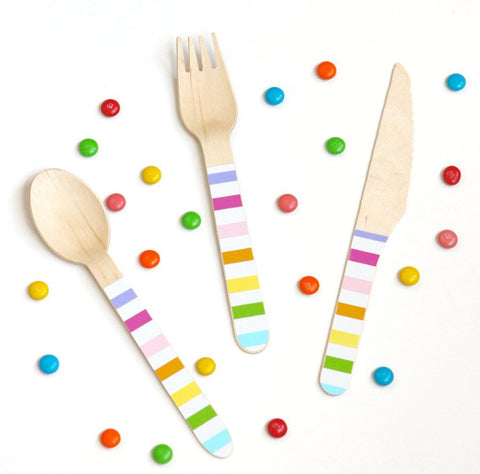 Rainbow Wooden Spoons (24 Pack)