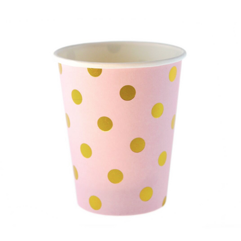 Pink with Gold Polkadot Cups (12 Pack)