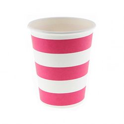 Raspberry Candy Stripe Cups (12 Pack)