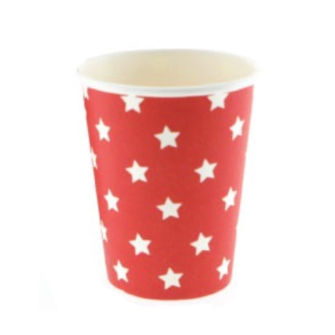 Red with White Star Cups (12 Pack)