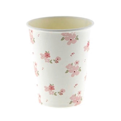 White Floral Cups (12 Pack)