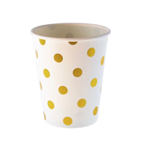 White with Gold Polkadots Cups (12 Pack)