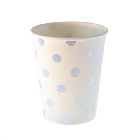 White with Silver Polkadots Cups (12 Pack)