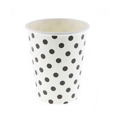 Black & White Polkadot Cups (12 Pack)