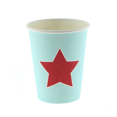 Blue with Red Star Cups (12 Pack)