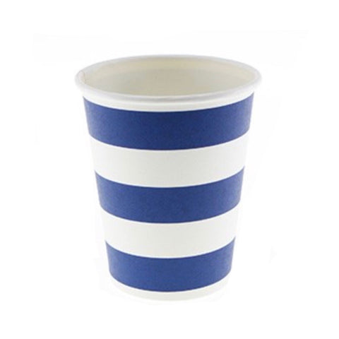 Navy Blue Candy Stripe Cups (12 Pack)