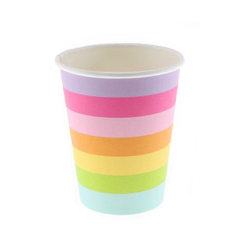 Rainbow Candy Stripe Cups (12 Pack)