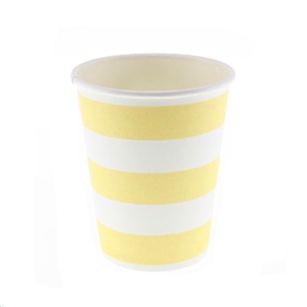 Yellow Candy Stripe Cups (12 Pack)