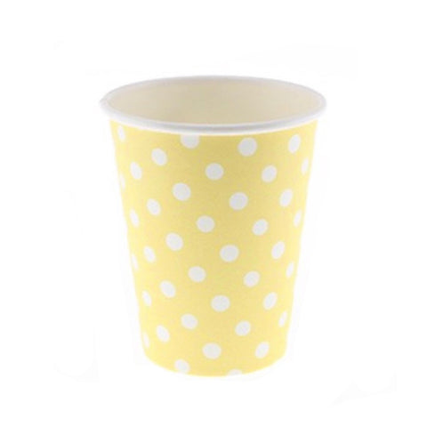 Yellow Polkadot Cups (12 Pack)