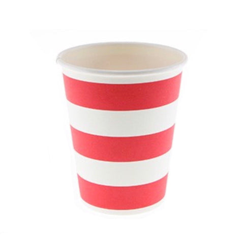 Red Candy Stripe Cups (12 Pack)