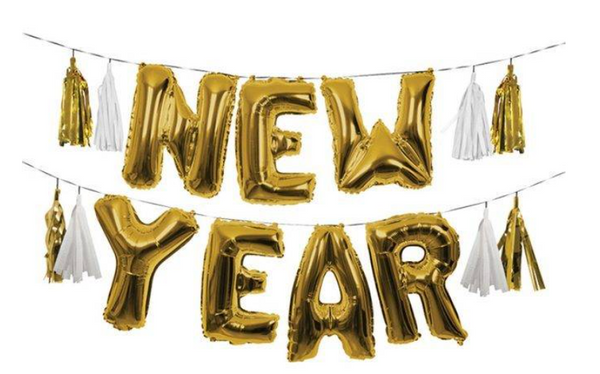 HAPPY NEW YEAR BALLOON BANNER