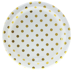 White with Gold Polkadots Plates (12 Pack)