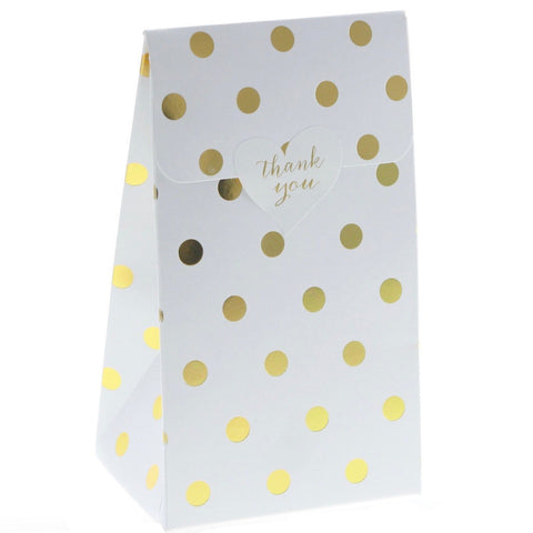 White with Gold Polkadots Treat Boxes (12 Pack)