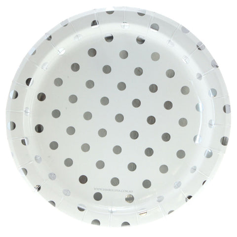 White with Silver Polkadots Plates (12 Pack)