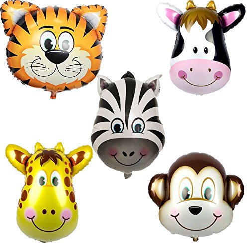 Safari Animals Foil Balloons (5 pack)