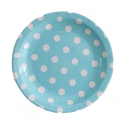 Blue with White Polkadots Cake Plates (12 Pack)