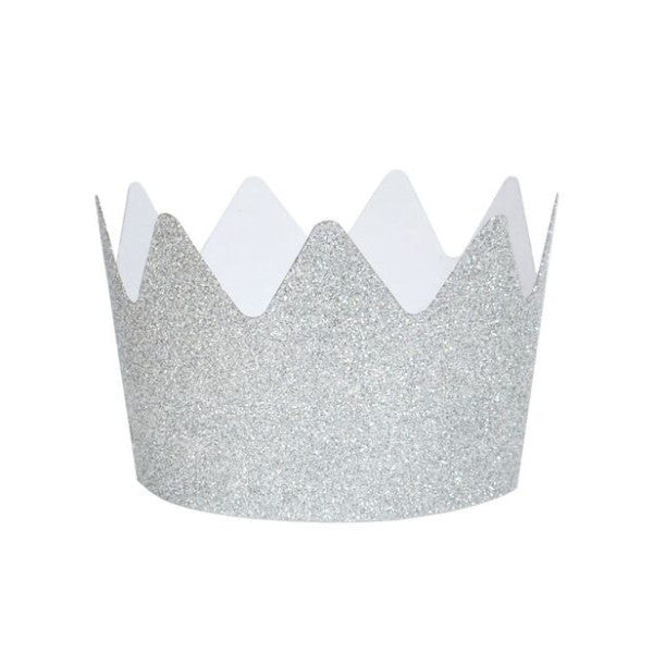 Silver Glitter Crowns (8 Pack)