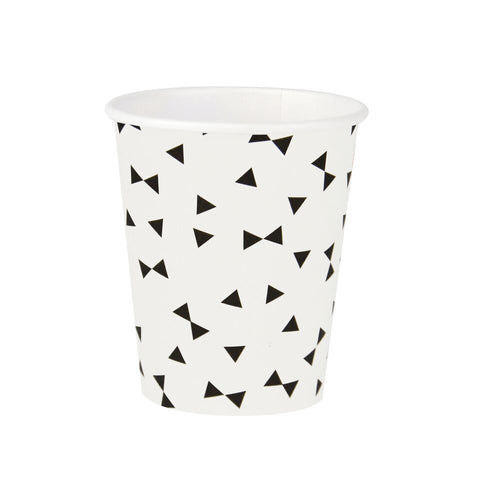 Black & White Bow Tie Cups (8 Pack)