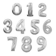 Silver Jumbo Number Foil Balloons