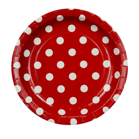 Red with White Polkadots Cake Plates (12 Pack)
