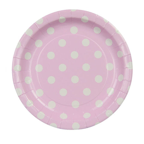 Pink with White Polkadots Cake Plates (12 Pack)