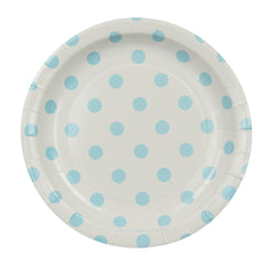 White with Blue Polkadots Cake Plates (12 Pack)