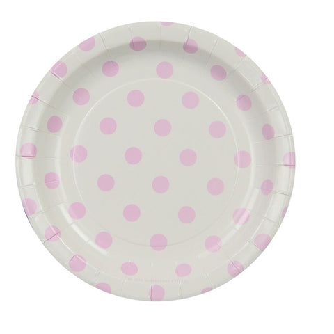 White with Pink Polkadots Cake Plates (12 Pack)