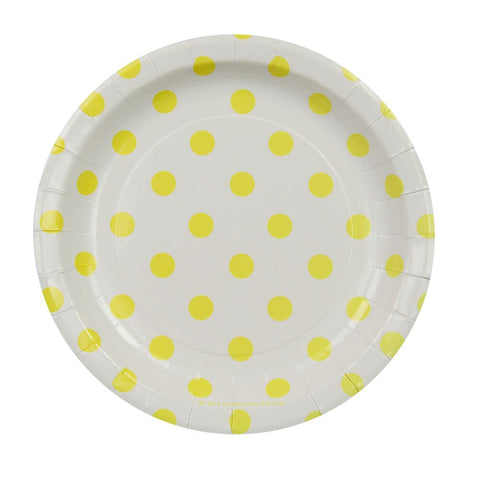 White with Yellow Polkadots Cake Plates (12 Pack)