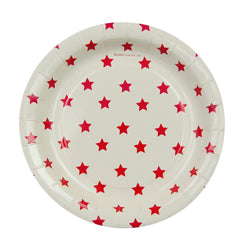 White with Red Stars Cake Plates (12 Pack)