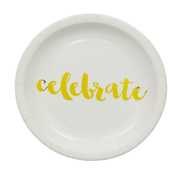 Gold Celebrate Cake Plates (12 Pack)