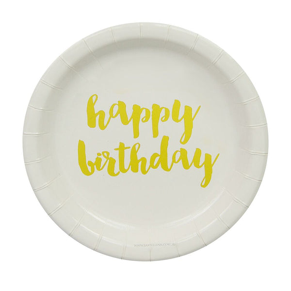 Gold Happy Birthday Cake Plates (12 Pack)