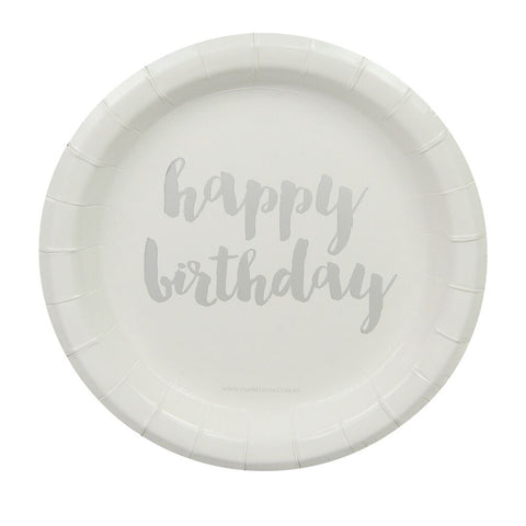 Silver Happy Birthday Cake Plates (12 Pack)