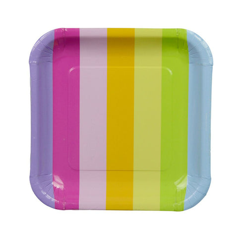 Rainbow Stripe Square Plates (12 Pack)