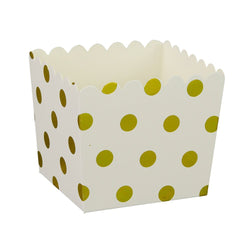 White with Gold Polkadots Scallop Favour Boxes (6 Pack)