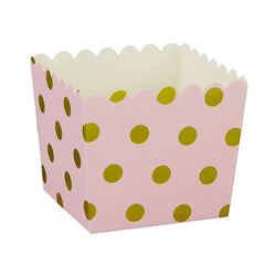 Pink with Gold Polkadot Scallop Favour Boxes (6 Pack)