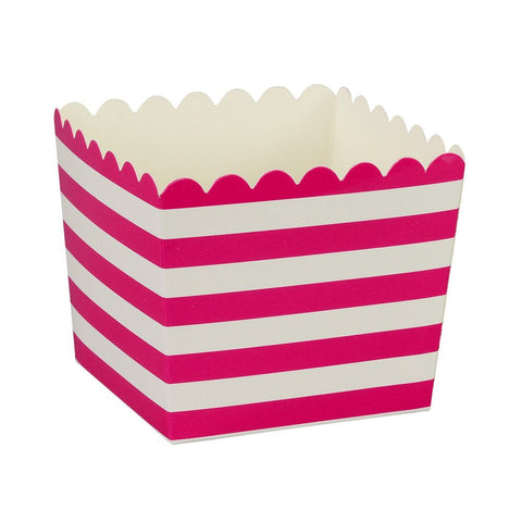 Raspberry Stripe Scallop Favour Boxes (6 Pack)