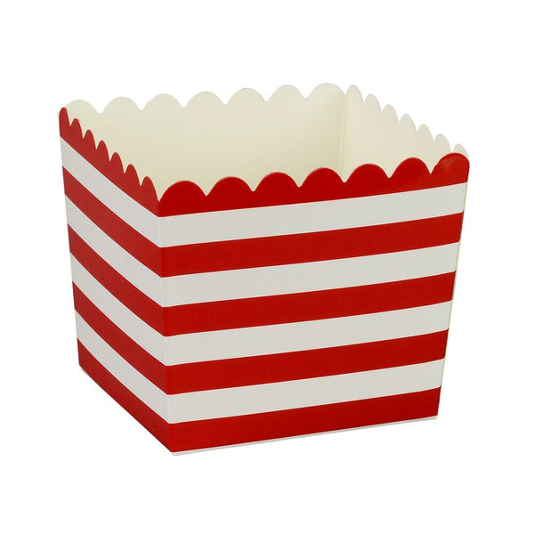 Red Stripe Scallop Favour Boxes (6 Pack)