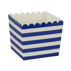 Navy Blue Stripe Scallop Favour Boxes (6 Pack)