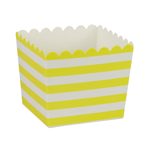 Yellow Stripe Scallop Favour Boxes (6 Pack)